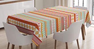 Striped with Art Tablecloth