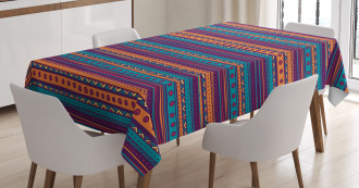 Retro Tribal Aztec Art Tablecloth