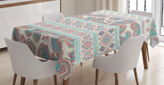 Floral Paisley and Aztec Tablecloth