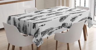 Black White Boho Feather Tablecloth