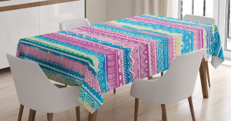 Watercolor Aztec Stripes Tablecloth