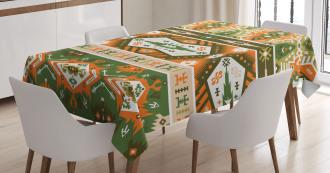 Aztec Mayan Style Stripe Tablecloth