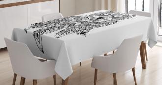 Native America Wolf Head Tablecloth