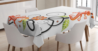 Baby Lizard and Flower Tablecloth