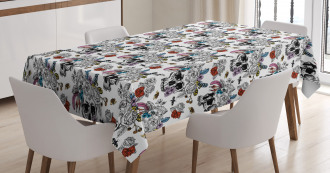 Skulls and Flowers Tablecloth