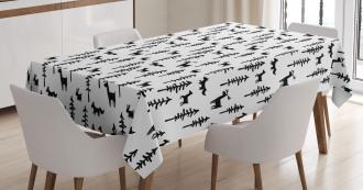 Pine Trees Rabbit Animal Tablecloth