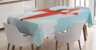 Cute Airplane Flying Cloud Tablecloth