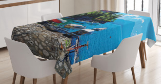 Boats European Sea Town Tablecloth