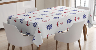 Anchors and Ship Wheels Tablecloth