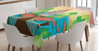 Wooden Bridge and Bird Tablecloth