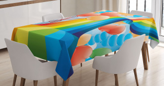 Rainbow Romantic Hearts Tablecloth