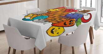 Cartoon Cat Bird Skull Tablecloth