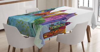 European House Scenery Tablecloth