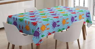 Crabs on Blue Backdrop Tablecloth