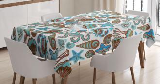 Crabs Octopus Shells Sea Tablecloth