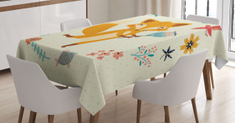 Cute Animal with Floral Tablecloth