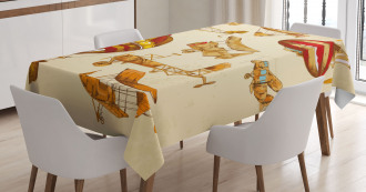 Vintage Baloons Planes Tablecloth