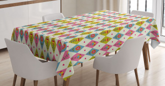Geometric Tulips Pattern Tablecloth