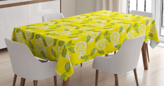 Fresh Lemons with Leaves Tablecloth