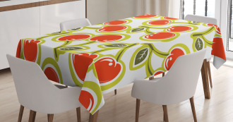 Cherry and Leaves Pattern Tablecloth