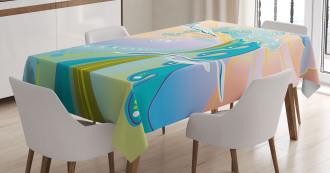 Cartoon like Waves Tablecloth