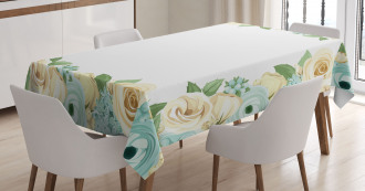 Flower Roses Leaves Tablecloth