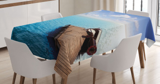 Wooden Deck on a Lake Tablecloth