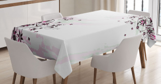 Grunge Flower Motif Leaf Tablecloth