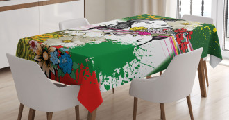 Tropical Flowers Spirals Tablecloth
