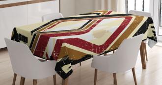 Retro Trippy Form Ruby Tablecloth