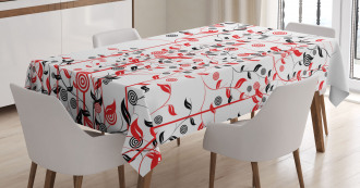 Flowers Ivy Swirl Leaves Tablecloth