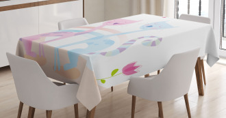 Cat Love Tulip Hearts Tablecloth