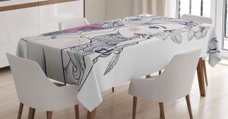 Butterfly Woman Portrait Tablecloth