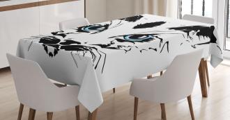 Big Cat Face Pet Sketchy Tablecloth