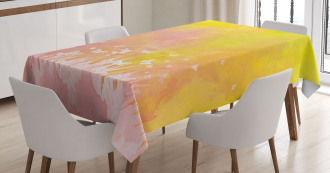 Flower Butterfly Colored Tablecloth