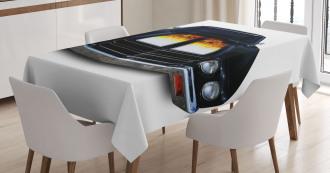Vintage Retro Car Flame Tablecloth