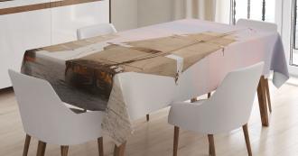 Wooden Sailing Ship Waves Tablecloth