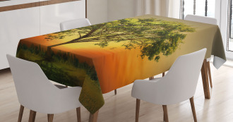 Sunset Scenery Valley Tablecloth