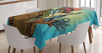 Western Style Robot Cowboy Tablecloth