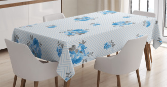 Blue Color Romantic Flower Tablecloth