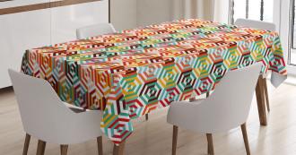 Hexagonal Shape Retro Tablecloth