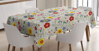 Flower Butterfly Pattern Tablecloth