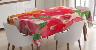 Watercolor Style Floral Tablecloth