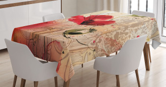 Retro Floral Design Tablecloth