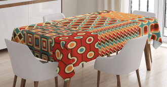 Colorful Linked Lines Tablecloth