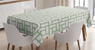 Maze Shaped Squares Lines Tablecloth