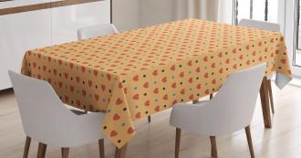 Hearts Retro Polka Dots Tablecloth