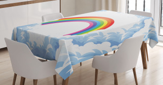 Rainbow Fluffy Clouds Tablecloth