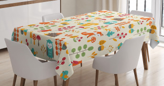 Owl Fox Squirrel Birds Tablecloth