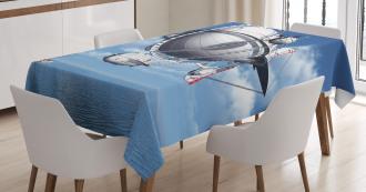 Sea Flying Cloudy Sky Tablecloth